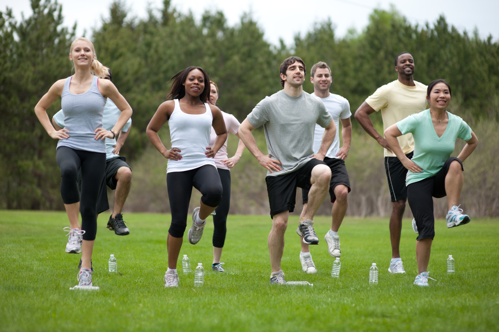 An outdoor fitness class in support of good health.